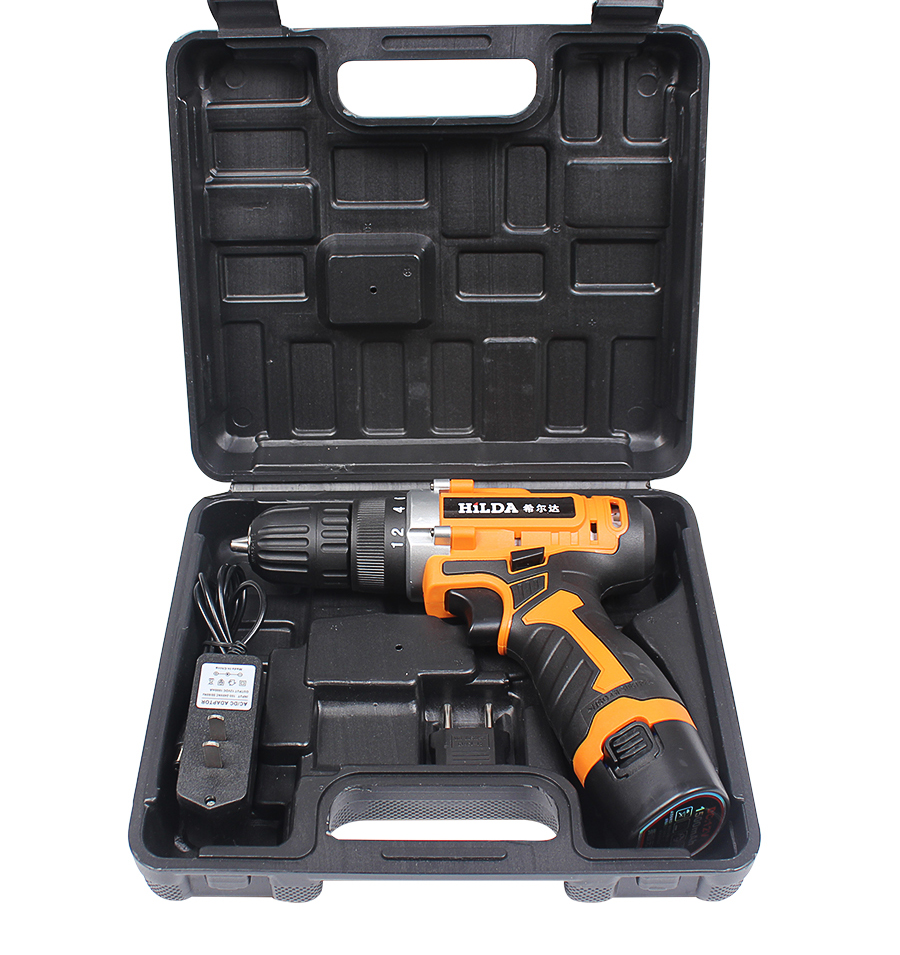 цена на HILDA 12V Electric Drill Rechargeable Lithium Battery*2 Electric Screwdriver Cordless Screwdriver Two-speed Power Tools