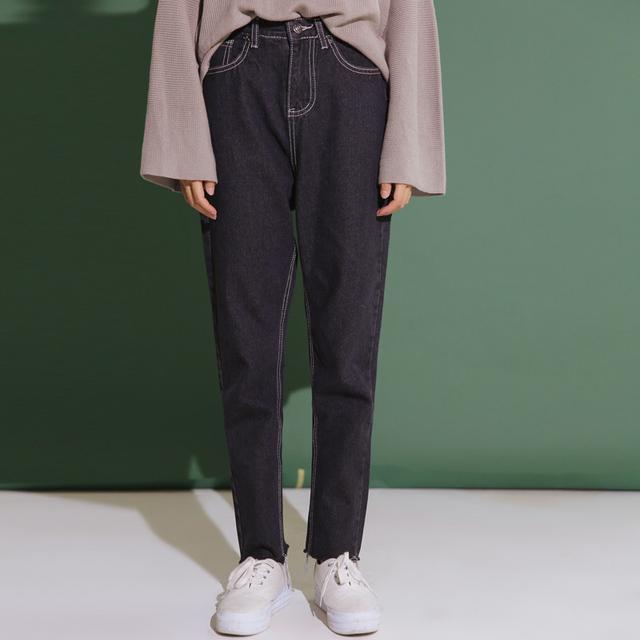 2017 Nova Coreano Estilo Boyfriend Solto Primavera Calça Jeans de Cintura Alta Vintage Denim Jeans Feminino Preto Cinza Calças Haren Calça Casual