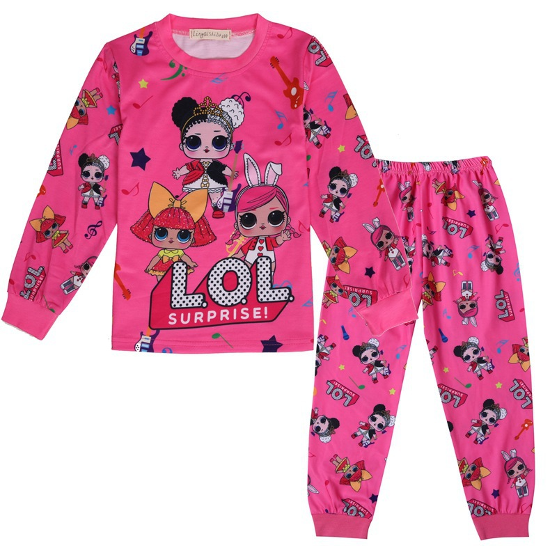 New Cartoon Girl LOl Costume Doll Girl Pajamas Children Two-piece Long-sleeved Casual Suit