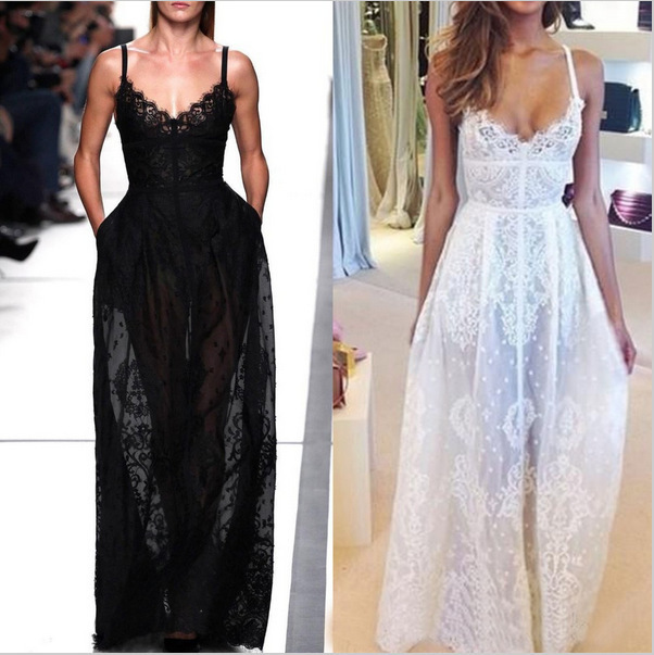 New 2015 Fashion Summer Style Women White Black Lace Maxi Dress Sleeveless V-neck Hollow Out Sexy Long Party Dress Clubwear