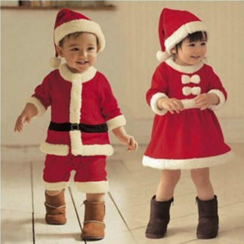 Baby Clothing Winter Boys Romper Jumpsuit and Girls with White Bow Dress for Christmas Show Santa Suit Dresses Vestido GDR104