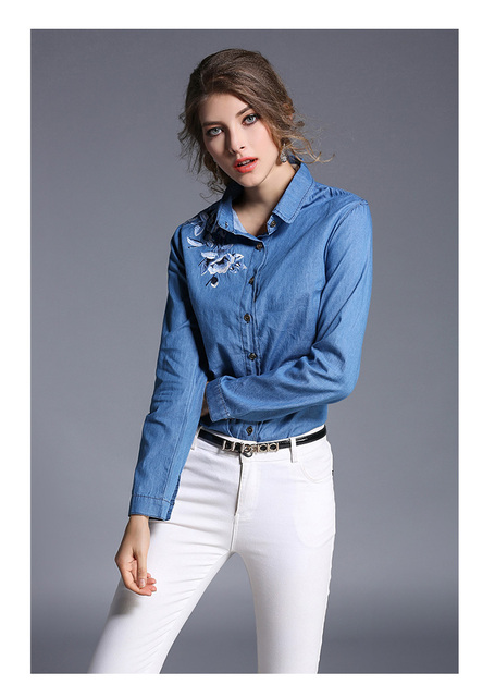 6bf1fde161cbd Long Sleeve Floral Embroidery Jeans Shirt Women Denim Blouse Fashion Office  Ladies Casual Tops Blusas Mujer Camisa