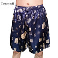 Pijamas para hombre Pantalones Cortos de Verano Pantalones Hasta La Rodilla de Seda de Seda Tradicional Casa de Pijama Casual Pantalones Hombres Pantalones de Pijamas de Satén