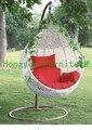 Rattan branco ao ar livre pendurado rede cadeira mobiliário com almofadas