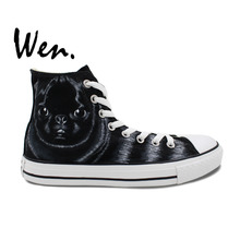 Wen Original Hand Pained Shoes Design Custom SharPei Black Pet Dog High Top Men Women's Black Canvas Sneakers for Gifts