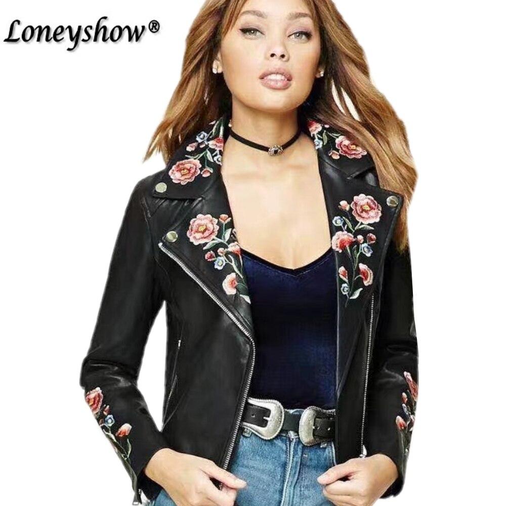 Black Embroidery   basic     jacket   coat outerwear & coats Black faux leather   jacket   women Short winter bomber   jacket   female coat