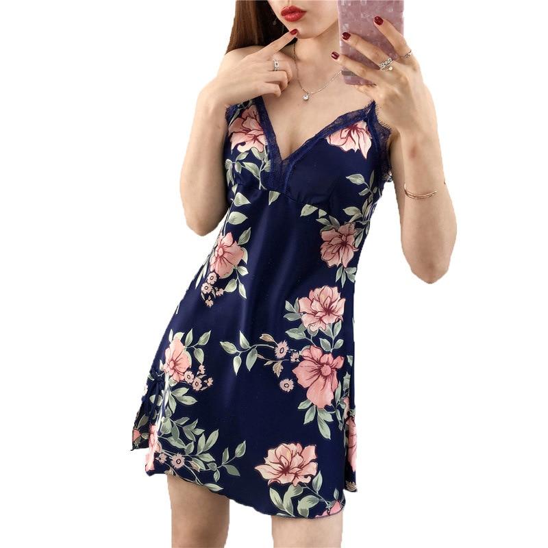 Sleep Lounge Nightgowns & Sleepshirt with Chest Pad Sleepwear Women Night Dress Sexy Ladie Nightwear Women Lingerie Indoor Dress