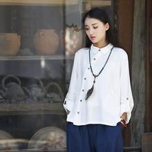 Long sleeve Button Pocket Novelty Women Blouse Shirt Original design White Gray Black Casual Shirt Autumn Linen Blouse Tops B135