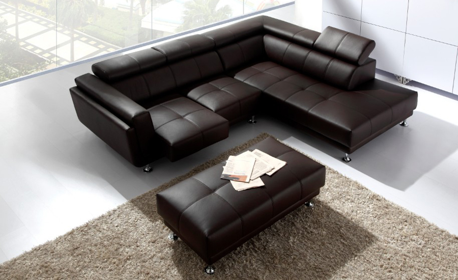 Free Shipping 2013 Latest Italy Design Genuine Leather L Shaped Corner Sofa  With Ottoman Removable Seater