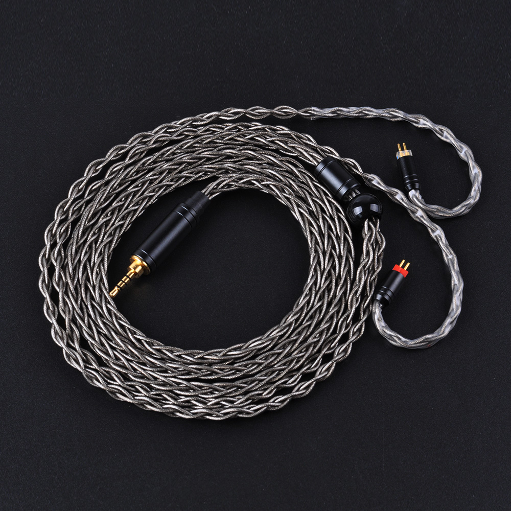 Yinyoo Brown 8 Core Silver Plated Upgraded Cable 2.5/3.5/4.4mm Balanced Cable With MMCX/2pin Connector For HQ5 HQ6 ZS10 ZS6 ES4