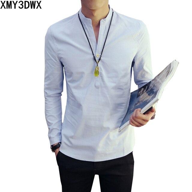 Estilo chino camisa de lino hombres suave respirable ocasional camisa de  manga larga casual vintage retro 62376b9f25990