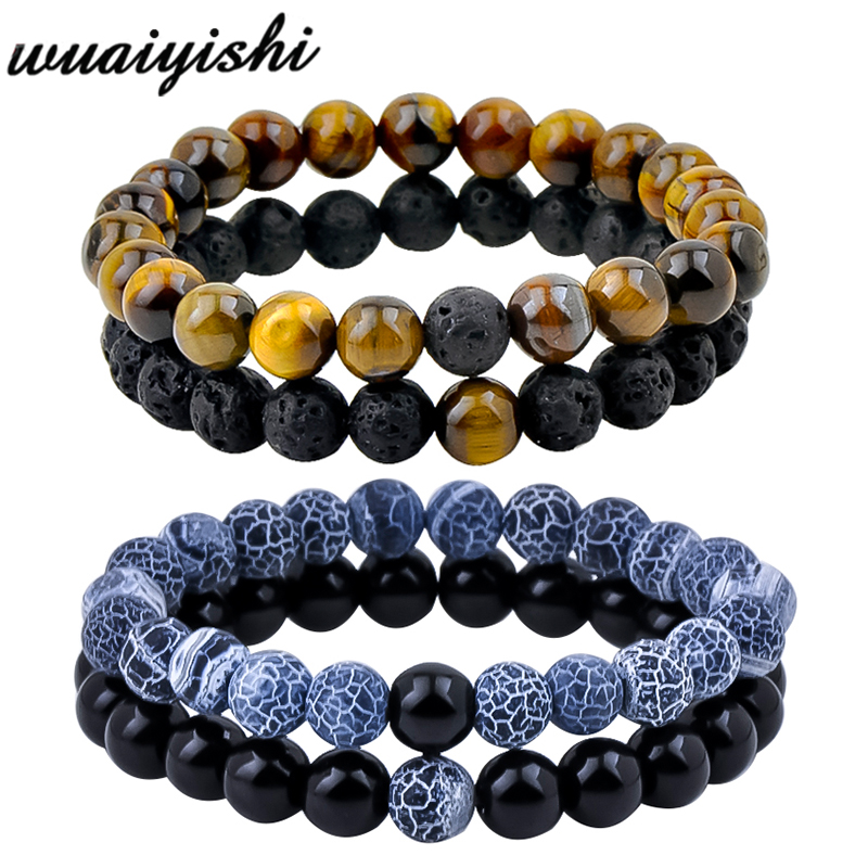 Hot 2pcs/set 7 Style Couples Distance Bracelet Natural Stone Yoga Beaded Bracelet for Men Women Friend Gift Charm Strand Jewelry image