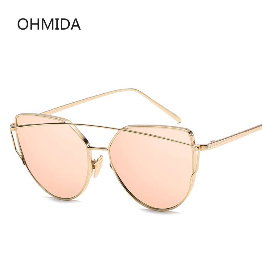 New Fashion Cat Eye Solbriller Kvinder Brand Designer Twin-Beam Spejl Lens Sun Briller Rose Gold Metal UV400 Lentes de sol Hombre