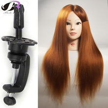 New Arrival Mannequin Professional Hairdressing Training Head 65CM 100% High Temperature Chestnut Yaki Hair Fiber Mannequin Head(China)