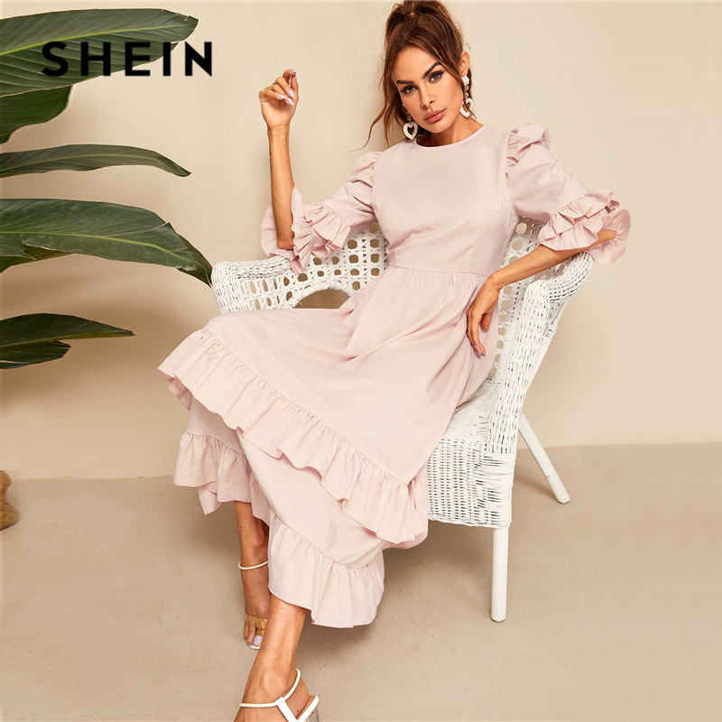 SHEIN Flounce Sleeve Layered Ruffle Hem Maxi Dress Women Elegant Pink High Waist Summer Dress 2019 A Line Dresses