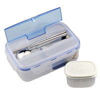 Hot Sale 1000ml Durable Lunch Box Eco Friendly Portable Microwave Bento Box With Soup Bowl Chopsticks