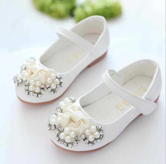 2016 spring and autumn new childrens fashion diamond pearl princess girls shoes Korean version baby girls casual casual shoes