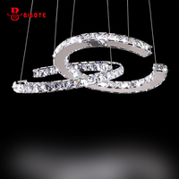 BIBOTE Chandelier LED Crystal Ring Chandelier Ring Crystal Light Fixture Luster Chandelier Ceiling LED Lighting Free