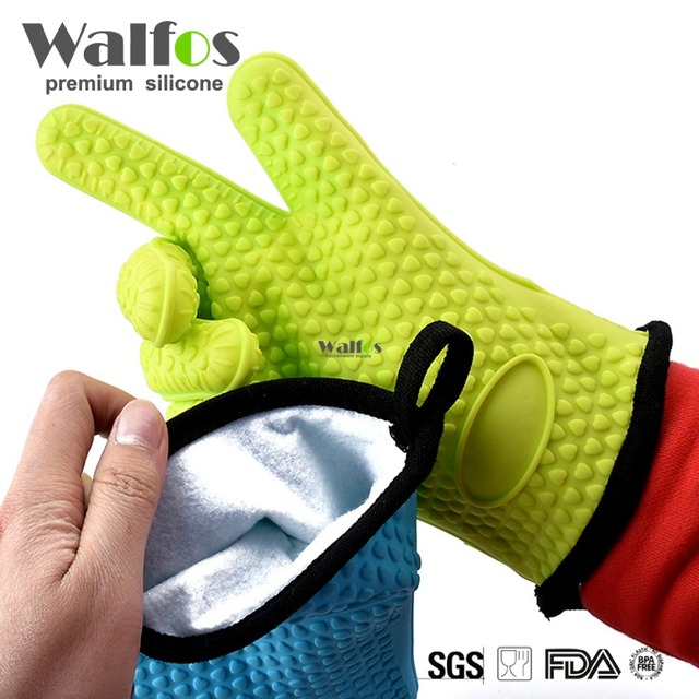 Two pieces Heat Resistant Silicone Glove Cooking Baking BBQ Oven Pot Holder Mitt Kitchen