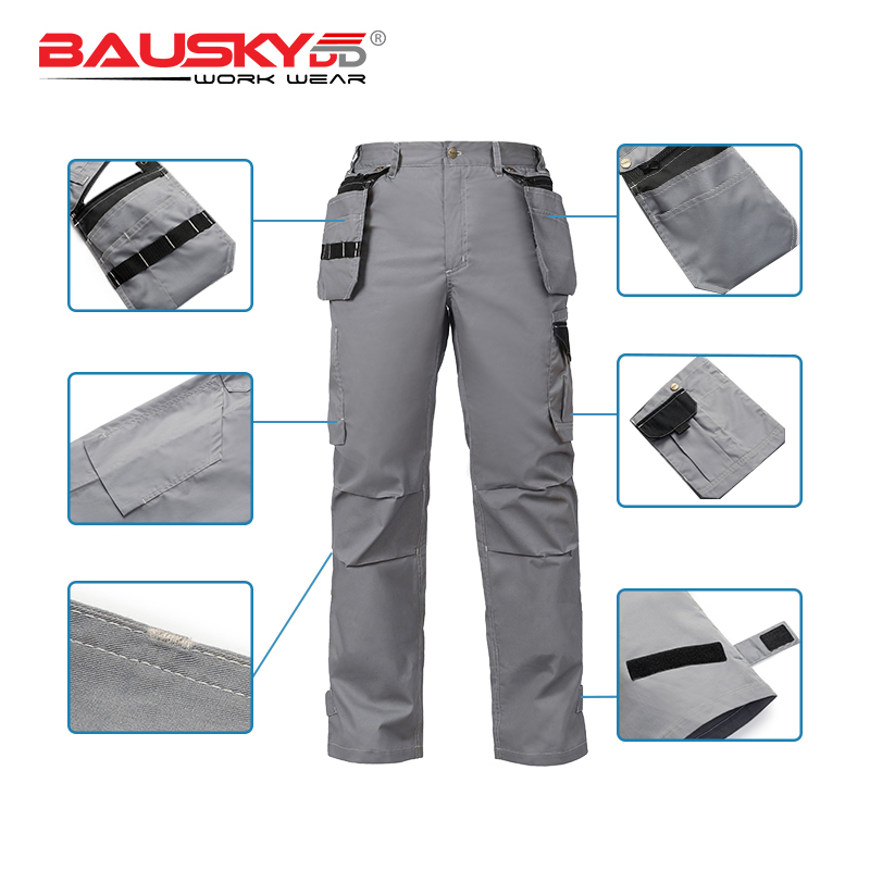 Bauskydd 2018 New Arrival Summer Mens Durable Light Thin Fabric Work Pants Trousers with Detachable Tool