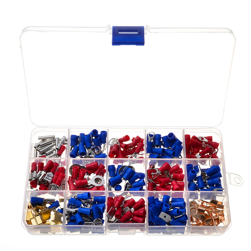 300pcs/Set Insulated Crimp Terminator Electrical Cable Wire Rolled Copper Terminals Assorted Red Blue Butt Connectors Kit 300pcs set assorted insulated electrical wire terminals crimp connectors spade butt 828 promotion