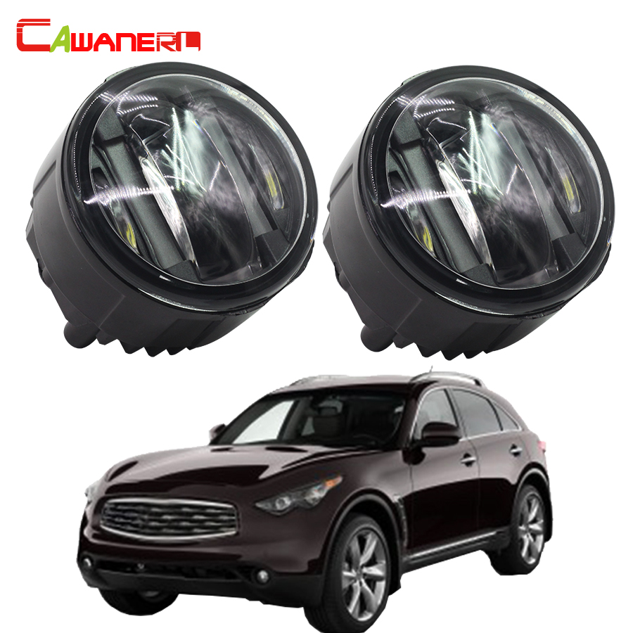 Cawanerl 1 Pair Left + Right Fog Light LED Daytime Running Lamp DRL 12V Car Styling For Infiniti FX50 5.0L V8 2009-2012 cawanerl 1 pair car styling led light fog lamp daytime running light drl dc 12v for suzuki alto grand vitara jimny sx4 splash