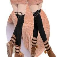 冬の綿女性ファッション黒猫ハローキティストッキングベルベットハイパッチワークセクシータイツ悪魔スーパー弾性ストッキングw028