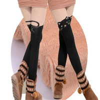 Winter Cotton Women Fashion Black Cat Hello Kitty Stockings Velvet High Patchwork Sexy Tights Devil Super