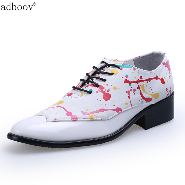 fashionable mens party leather shoes graffiti model coloured drawing