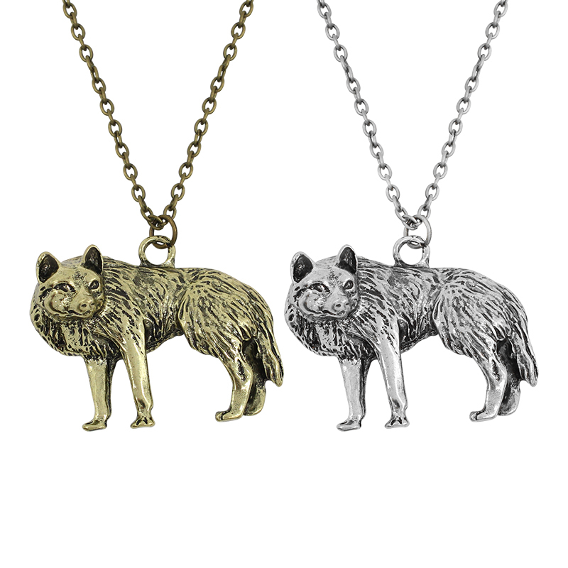 Hip Hop Retro Wolf Necklace Choker Halloween Anime Mandala Undertale Dog Wolf Necklaces & Pendants With Long Chain Free Shipping