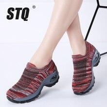 Stq 2020 outono das sapatilhas das mulheres sapatos deslizamento em plataforma plana cunhas tênis para as mulheres malha meia tênis casuais sapatos mulher 1839