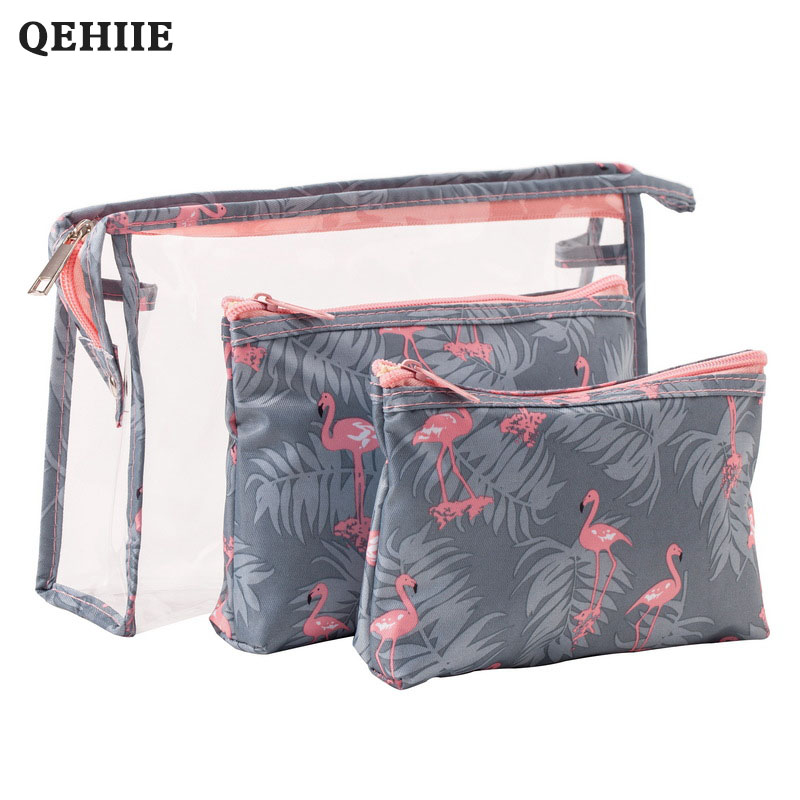Organizer For Woman Waterproof PVC Flamingo Cosmetic Bag 3 Pcs/suit Travel MakeUp Pouch Bags Organizer Beautician Toiletry Bag