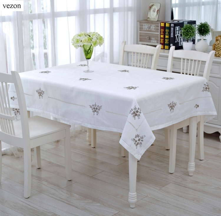 Vezon New White Delicate Hemstitch Embroidery Tablecloth Elegant Embroidered Table Cloth Overlays Home Decor Towel Textiles