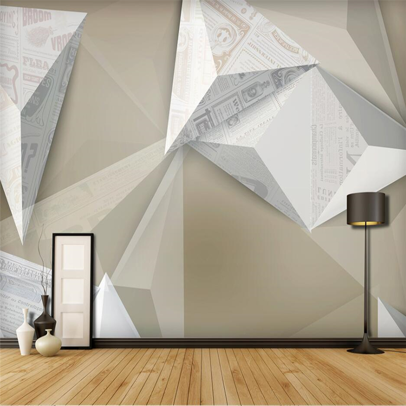 Beibehang Style Solid Geometry Creative Abstract Newspaper Retro Wall Custom Large Mural Green Wallpaper papel de parede