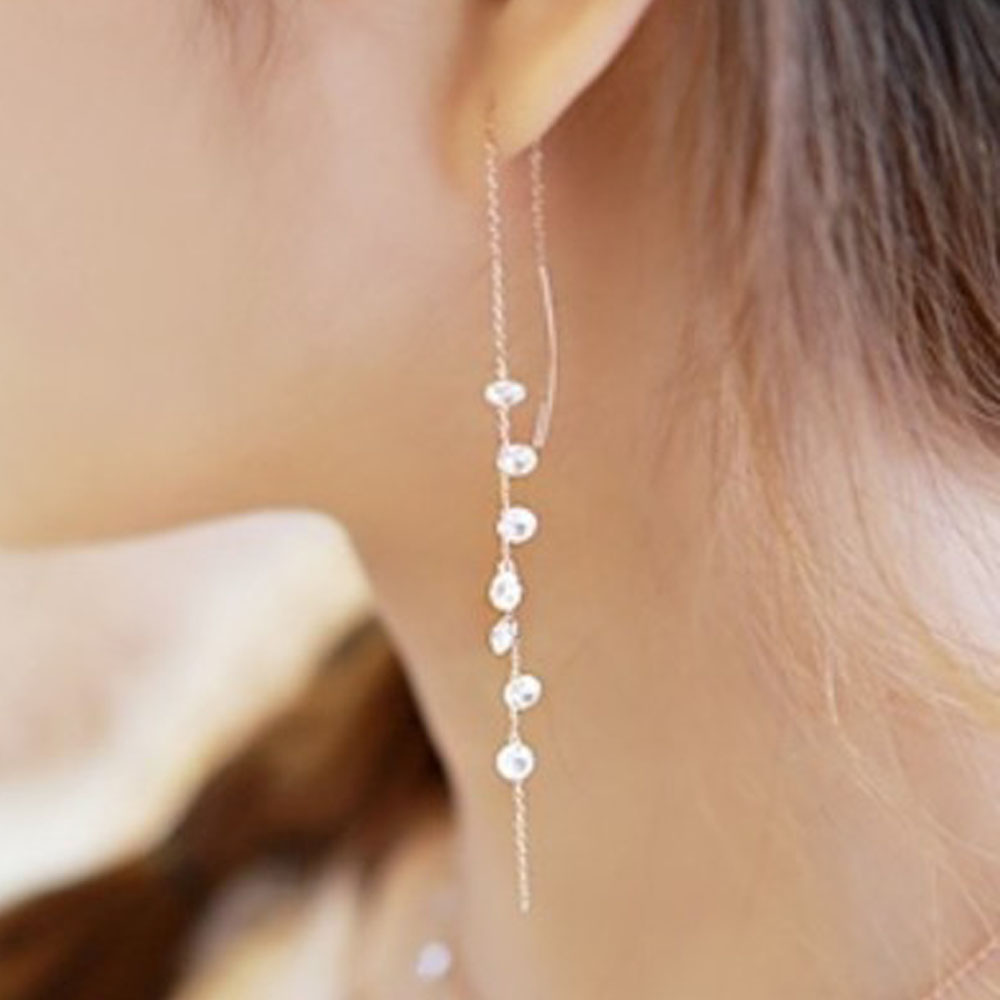 Women Real Pure Solid 925 Sterling Silver Long Dangle Drop Earrings White  Gold Fashion Thread Luxury