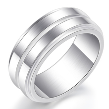 Stainless Steel Rings for Women Man 8mm Width Silver Engagement Ring Female Fashion Jewelry