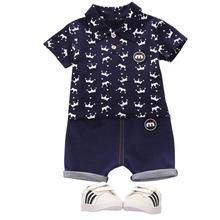 2pcs/set Boys Summer Suit Fashion Crown Pattern Shirt + Shorts