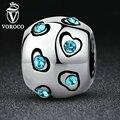 VOROCO Banhado A Prata Coração De Cristal Azul Contas Exquisite Bead Encantos Fit Pandora Originais Pulseiras & Pulseiras Jóias A5320