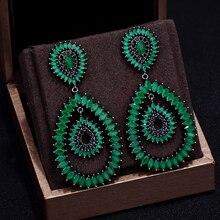 GODKI Brand New Hot Fashion Popular Luxury Water Drop Full Cubic Zirconia Pave  Needle Wedding Earring For Women