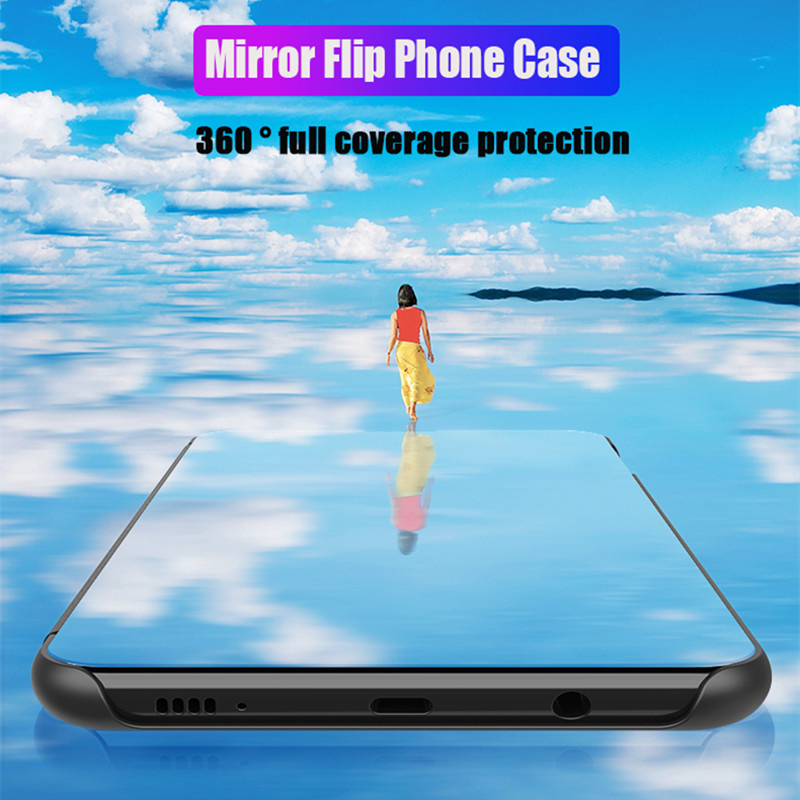 Mirror-Smart-Flip-Phone-Case-For-Xiaomi-Redmi-Note-7-Pro-Full-Clear-View-Leather-Stand