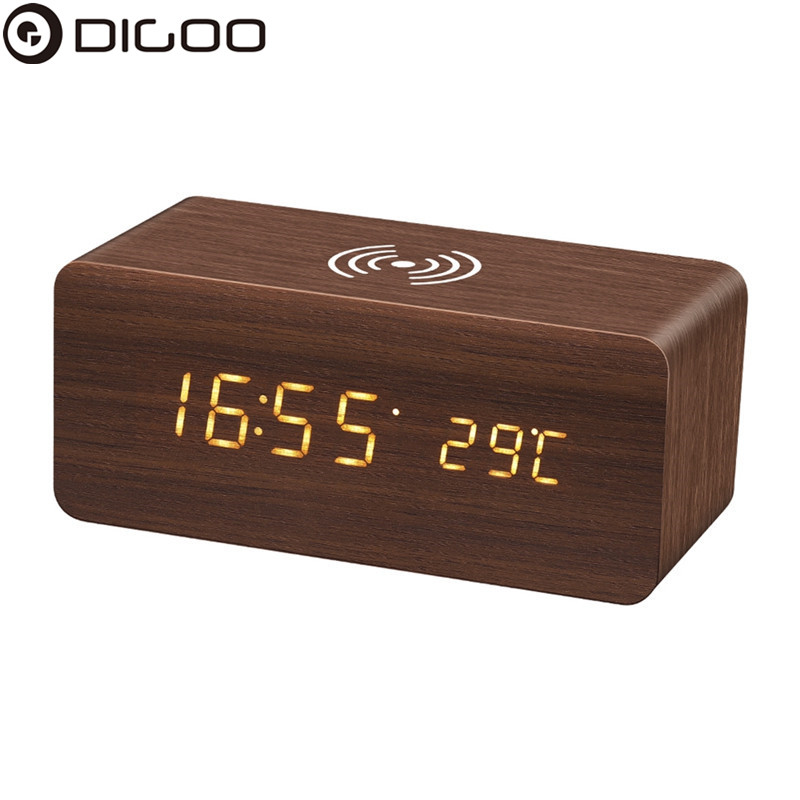 DG-AC80 LED 12/24 Hour Display Wooden-Clock Wireless Charging Voice Control Desktop Digital Alarm Clock Humidity Temperature