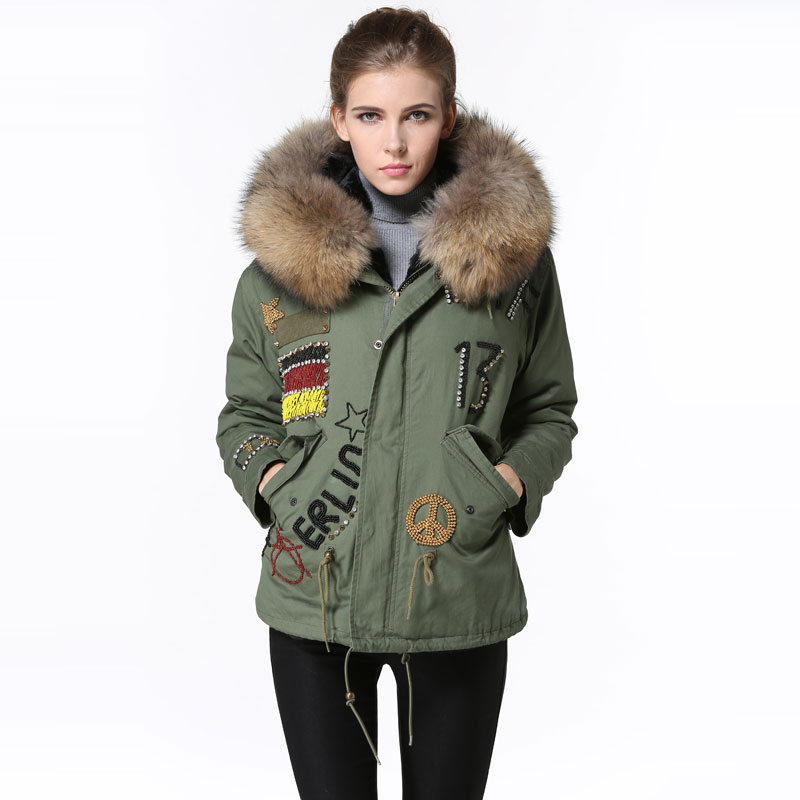 Winter Army Green Short Jacket Germany Beading Cool black fur jacket Raccoon fur collar coat