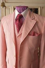 2019 Autumn Red Pinstripe Seersucker Men Blazer Designs Wedding Tuxedos Prom Slim Fit Suit Jacket Custom Made Jakcet+Pants