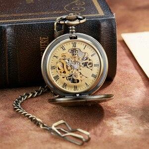 Image 5 - ブロンズレトロ機械式懐中時計極性エクスプレスデザインローマ数字中空スケルトンメンズ機械式懐中時計チェーン