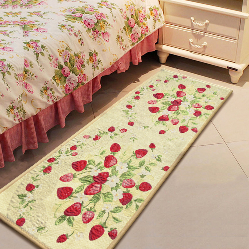 Red Strawberry Fabric Kitchen Rug Bedroom Floor Mat Carpet Welcome Doormat Home Decor 45x122cm Tapete In From Garden On Aliexpress Com Alibaba