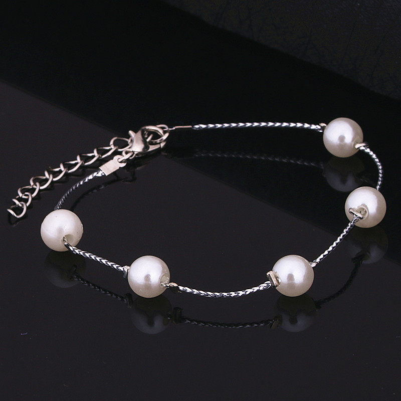 Lovely Small Silver Color Turtle Bangles Adjustable Expandable Wire Simulated Pearl Bracelets Men Jewelry pulseras mujer ns23