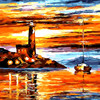 Gold Nightfall Seascape DIY Painting By Numbers Kits Coloring Painting On Canvas Handpainted Home Decor Wall
