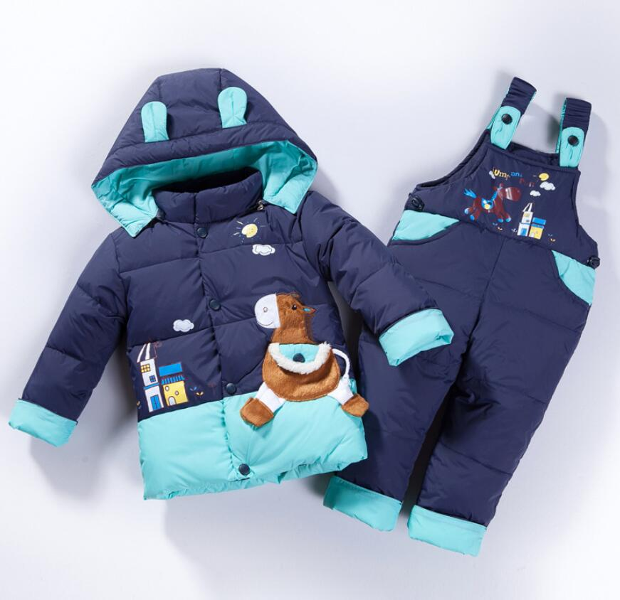 2018 winter baby children clothing sets boy girl duck down jacket sets Duck down outerwear+overalls kids winter ski suit set russia baby girl ski suit sets winter children clothing set boy s outdoor sport kids down coats jackets trousers 30degree 30