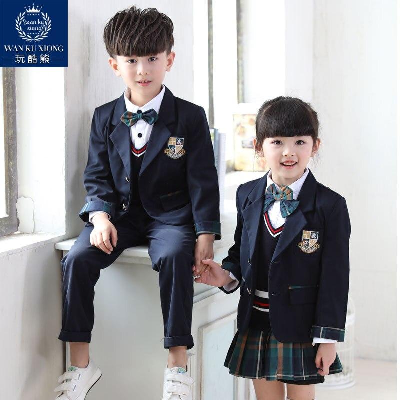 Uniformes scolaires pour garçons costume de sport pour fille angleterre Style adolescente vêtements grand frère Litte soeur correspondant vêtements