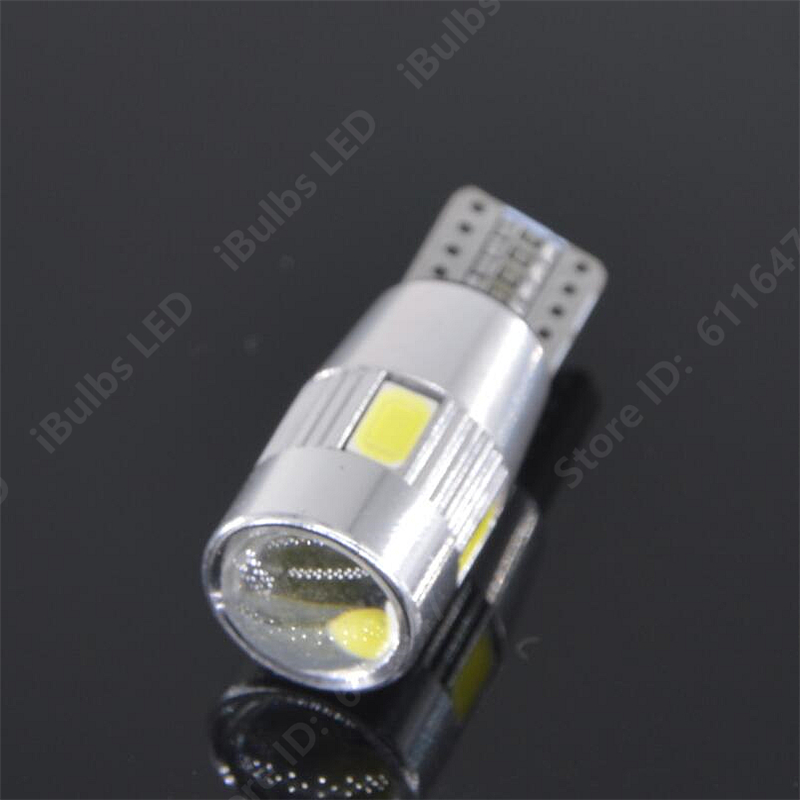 4Pcs Canbus Error Free T10 W5W 6 LEDs 194 501 Auto 5630 SMD Car Interior lights Wedge Door Instrument Side Bulb Lamp Lens high t10 canbus 10pcs t10 w5w 194 168 5630 10 smd can bus error free 10 led interior led lights white 6000k canbus 300lm